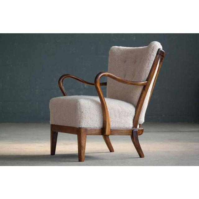 Slagelse Møbelværk Slagelse Mobelvaerk Model 117 Lounge Chair in Lambswool Danish Midcentury For Sale - Image 4 of 9