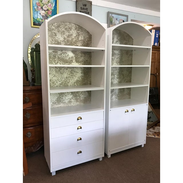 Mid-Century Modern Satin White and Zinc Cabinets - A Pair - Image 3 of 9
