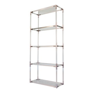 1970s Hollywood Regency Charles Hollis Jones Lucite Aluminum & Glass Shelving Unit For Sale
