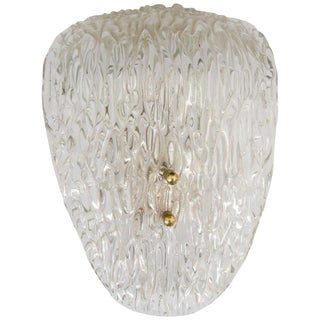 Scandinavian Modern Textured Glass and Brass Wall Sconce For Sale