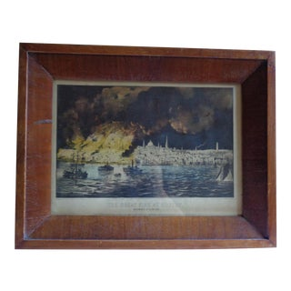 Antique Framed Currier & Ives Print of the Great Fire at Boston For Sale