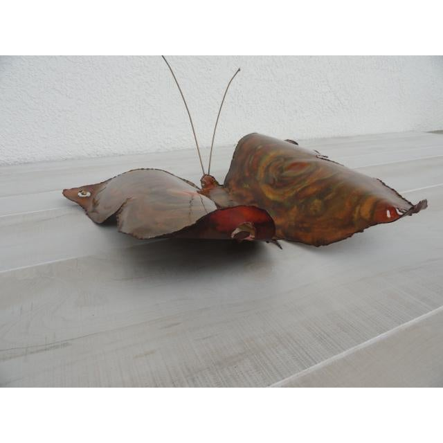 Metal Mid-Century Modern Signed by Artist Copper Butterfly Metal Wall Sculpture For Sale - Image 7 of 13