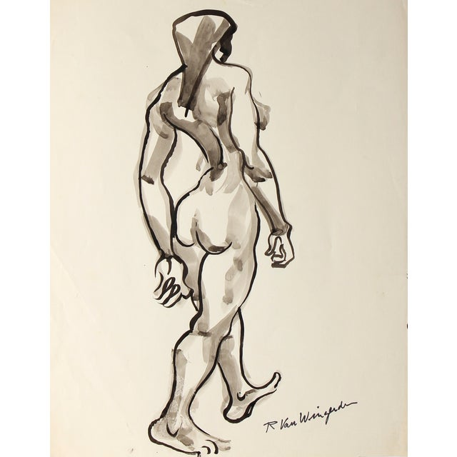 Mid-Century Expressionist Figure Ink Drawing For Sale