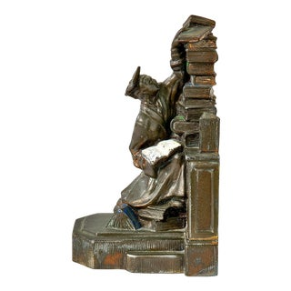 Cast Iron Figurative Student Reading Vintage Bookend For Sale