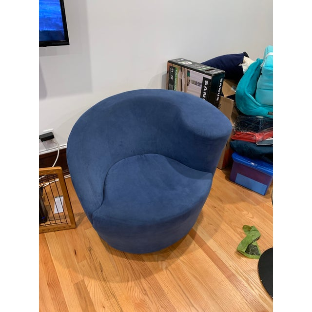 Fabric Modern Vladimir Kagan for Directional Nautilus Ultrasuede Swivel Chairs- a Pair For Sale - Image 7 of 10