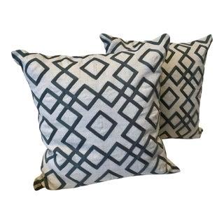 Cream & Charcoal Geo Diamond Throw Pillows - A Pair For Sale