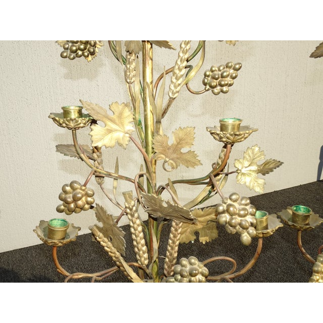 """Pair Tall 36""""h Vintage Gold Table Top Floral Candelabras Brass Candle Holders Light For Sale - Image 9 of 13"""