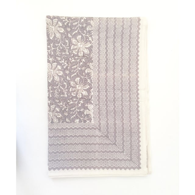 """Hand Block-Printed Tablecloth by Bungalow Denmark. Pattern is Lakhsmi Sand. 100% Cotton. 98"""" x 60"""". Skilled craftsmen in..."""