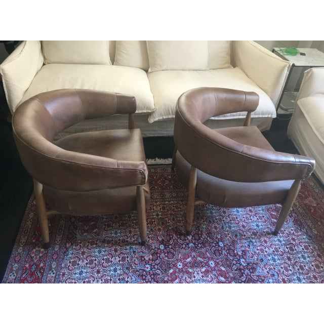 Restoration Hardware Leather Chairs - A Pair For Sale - Image 5 of 7