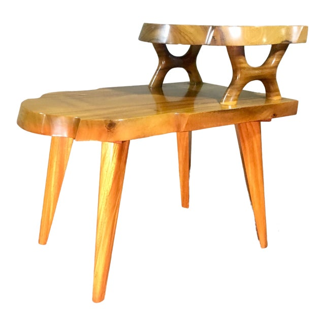 1960s Organic Modern Solid Slab Koa Wood 2-Tiered End Table For Sale