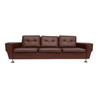 Danish 3-Seater Sofa, 70s, Leather, Original Good Condition For Sale