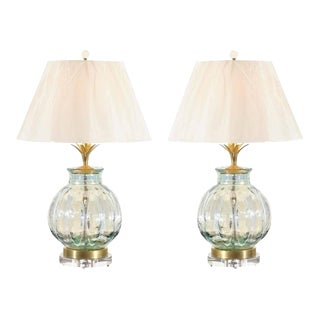 Fabulous Pair of Blown Glass Vessels as Custom Lamps For Sale