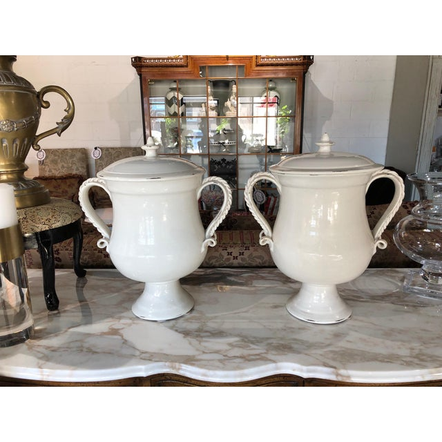Fortunata Italian Ceramic White Urns - a Pair For Sale - Image 13 of 13