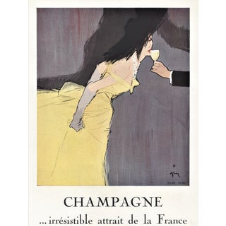 Matted Mid-Century Champagne Print by Gruau For Sale