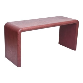 "American Modern Burgundy ""Ostrich"" Waterfall Console Table, Karl Springer"