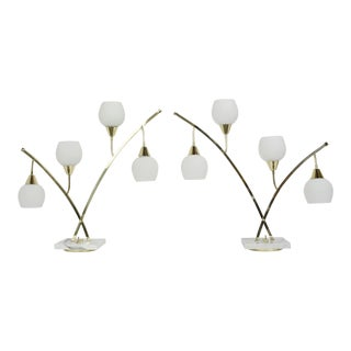 Narrow Brass & Marble Mid-Century 4-Light Table Lamps With Glass Shades - a Pair For Sale