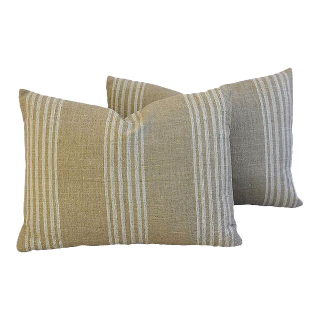 Custom Tan & White French Ticking Feather & Down Pillows - A Pair - Image 11 of 11