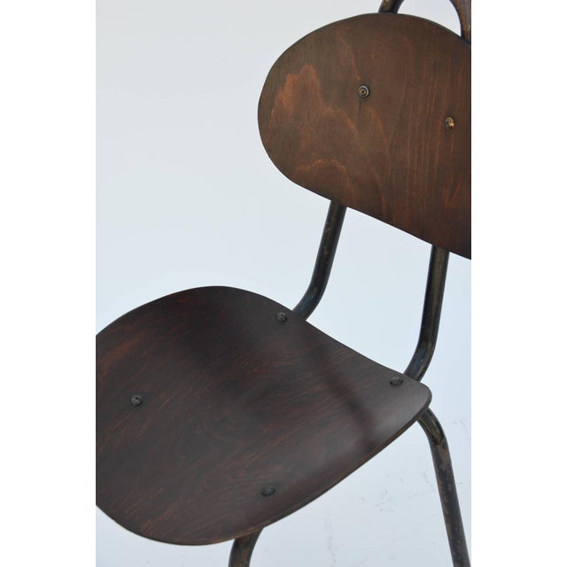 Metal Pair of Unique French Industrial Bentwood Side Chairs For Sale - Image 7 of 10