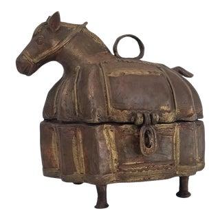 1960s Vintage Handmade Brutalist Abstract Horse Shape Bronze Box For Sale