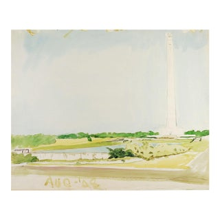 San Jacinto Monument Watercolor Painting For Sale