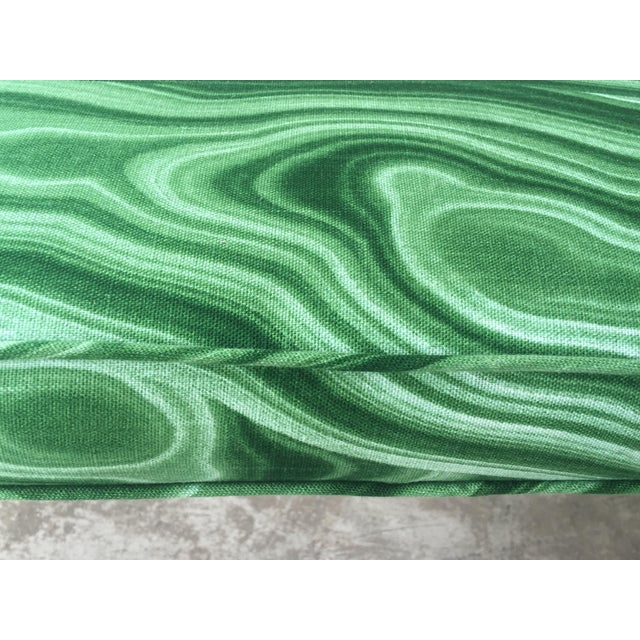 Danish Modern Mid-Century Modern Malachite Green Upholstered Stool For Sale - Image 3 of 9