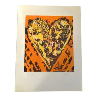 "Vintage Jim Dine ""Heart for Film"" Forum Signed Number Woodcut Edition of 500 C. 1993 For Sale"