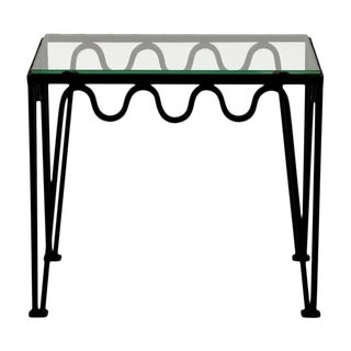 The 'Méandre' Blackened Steel and Glass Side Table For Sale