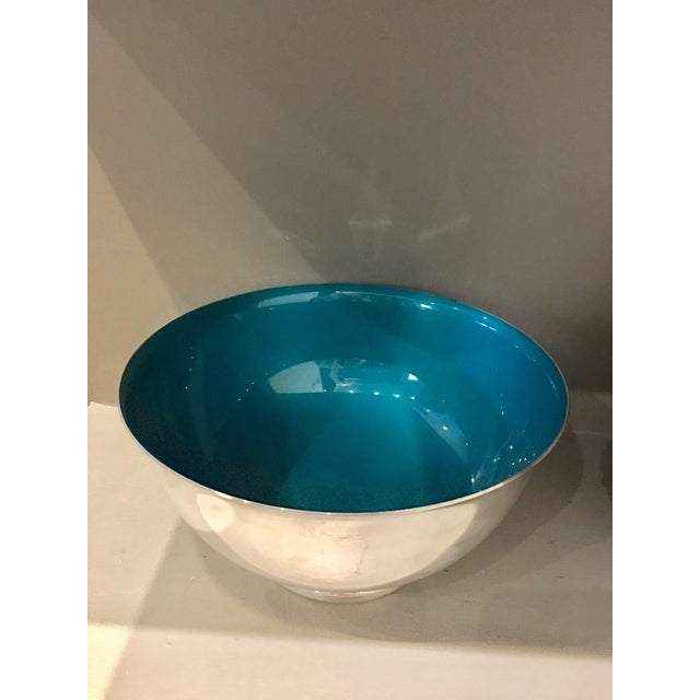 Reed & Barton Silver & Enameled Aqua Bowl - Image 2 of 5