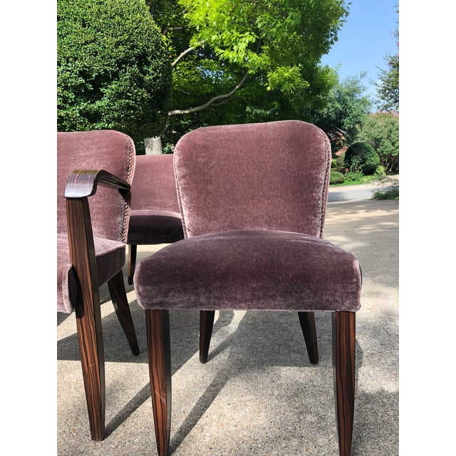 Wood 1930s Vintage Macassar and Mohair Dining Chairs - Set of 6 For Sale - Image 7 of 11