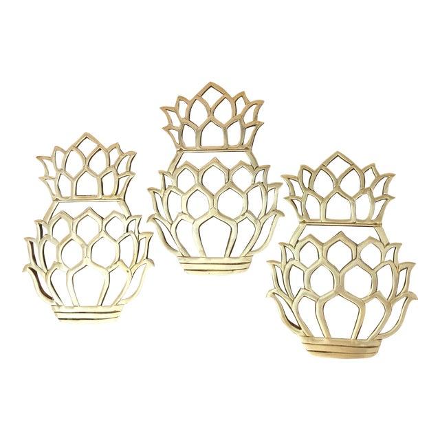 Coastal Style Vintage Solid Brass Pineapple Trivets - Set of 3 For Sale