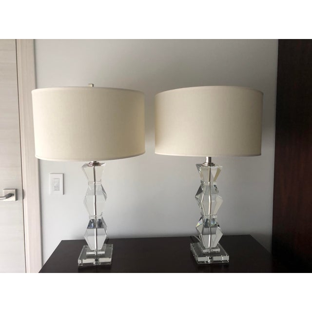 Ethan Allen Geometric Crystal Lamps. Made of crystal White linen, Drum Shade