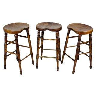 Antique English Pub Stools - Set of 3 For Sale