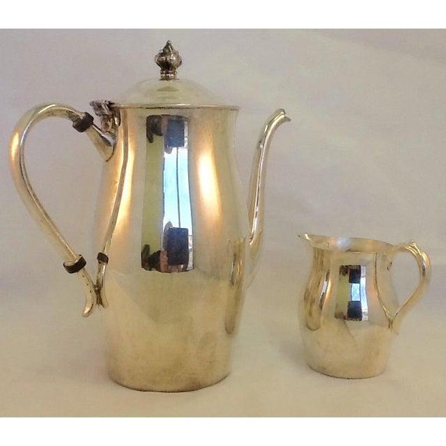 Vintage Coffee Pitcher. Vintage Creamer. Silverplate Oneida Coffee Pitcher & Creamer - Image 2 of 7