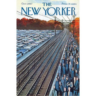 Vintage 1967 New Yorker Cover, October 7 (Arthur Getz), Business, Commuters For Sale