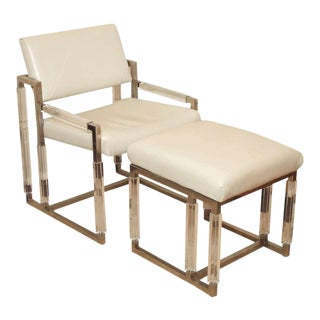 "Charles Hollis Jones ""Metric Line"" Chair & Ottoman - A Pair For Sale"