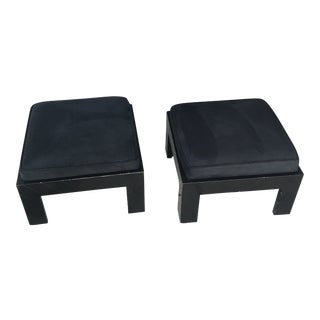 1970s Black Footstools - A Pair