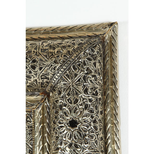 Animal Skin Pair of Moroccan Mirrors With Silvered Metal and Leather Wrapped For Sale - Image 7 of 10