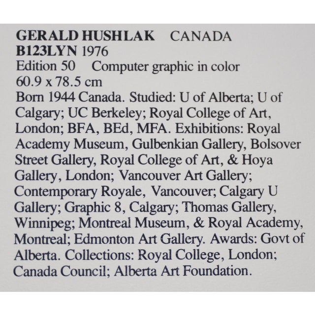 """Gerald Hushlak (Canada, B.1945) """"B123lyn"""" Early Computer Graphic in Color C.1976 For Sale - Image 11 of 12"""