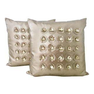 Contemporary Metallic Leather and Gem Stud Pillows -A Pair