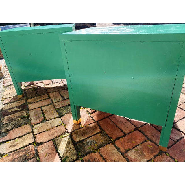 1960's Dixie Shagri La Green and Gold Leaf Hollywood Regency Nightstands- a Pair For Sale - Image 12 of 13
