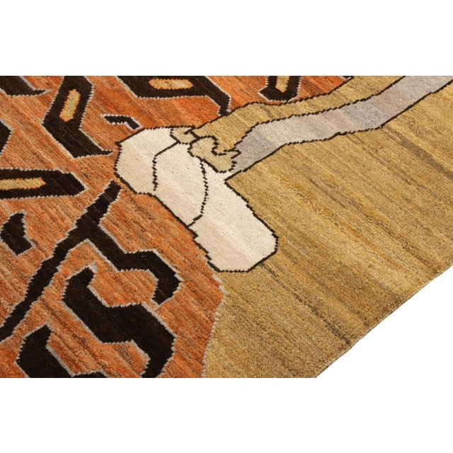 Rug & Kilim Handknotted Regal Geometric Tiger Rug, Wheat Gold, 9'x14' For Sale - Image 4 of 9