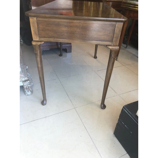 1960s 1960s Quenn Anne Baker Furniture Oak Writing Desk For Sale - Image 5 of 8