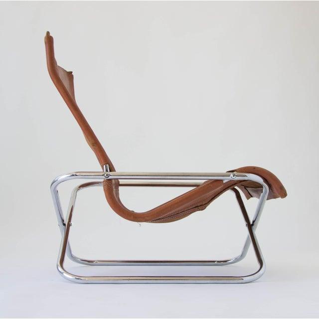 Sueki Uchida Leather Sling Chair For Sale - Image 4 of 9