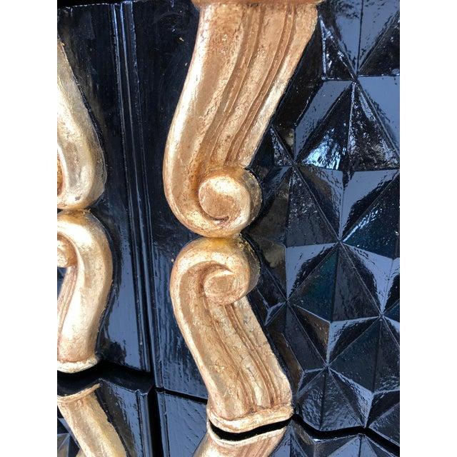 Black Hollywood Regency High Gloss Black and Red Lacquer Dresser W Gold Leaf Details For Sale - Image 8 of 12