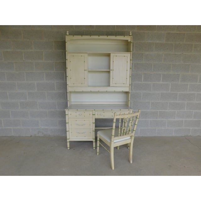 Thomasville Allegro Regency Style Faux Bamboo 3pc Desk Bookshelf and Chair For Sale - Image 13 of 13