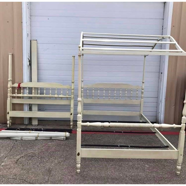 Vintage Full Size Ethan Allen Canopy Bed For Sale - Image 4 of 6