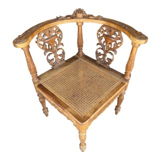 Carved Corner Chair Renaissance Style For Sale