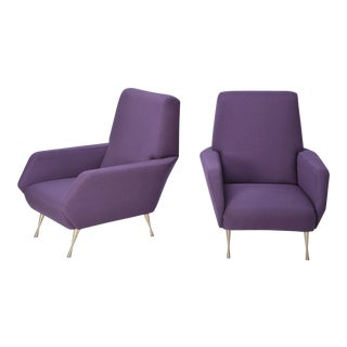 Italian Upholstered Armchairs in Purple, 1950s - a Pair For Sale