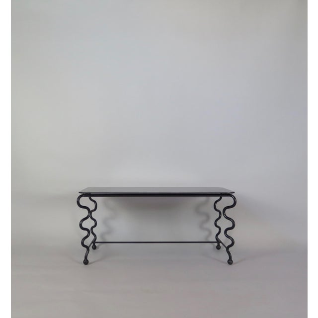 Mid-Century Modern 'Serpentine' Coffee Table With Black Glass Top For Sale - Image 3 of 13