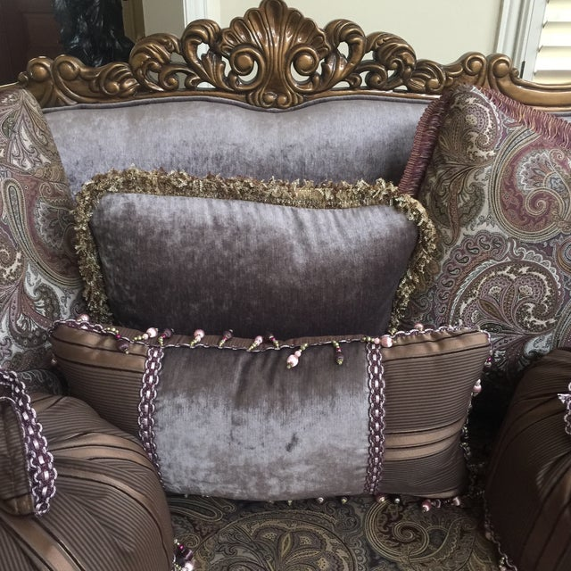Purple & Paisley Loveseat With Pillows For Sale - Image 4 of 8